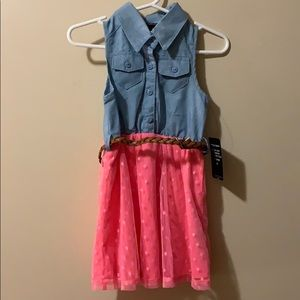 Girls 2T jean & pink color dress with brown belt